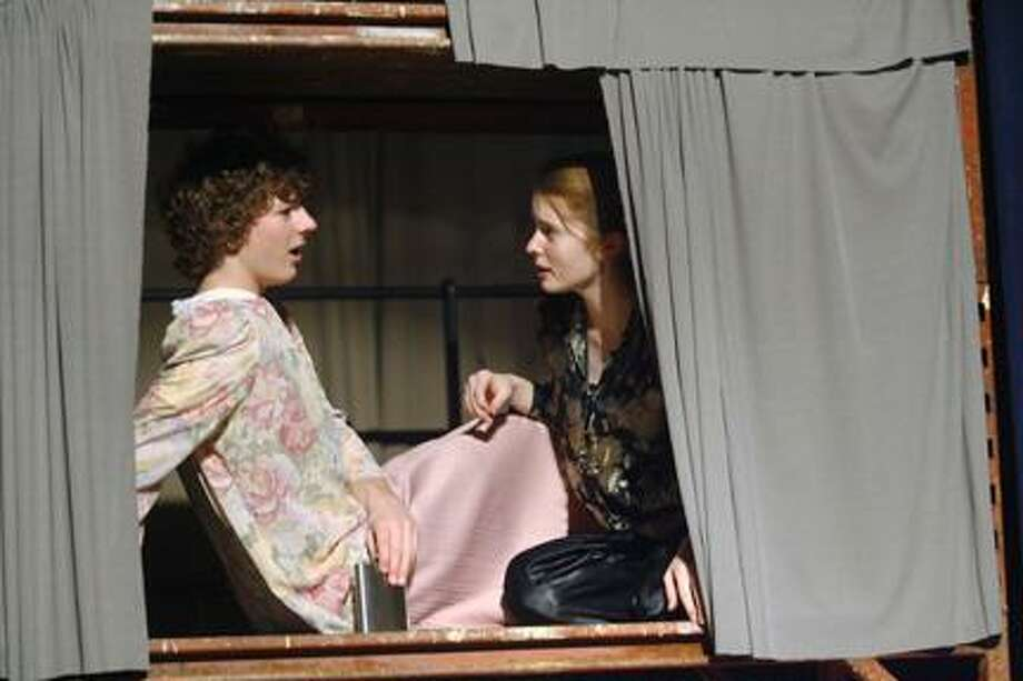 """Dispatch Staff Photo by JOHN HAEGER (Twitter.com/OneidaPhoto)Madison Drama Club members Nathan Mitchell and Jasmine Wratten rehearse a scene from """"Sugar"""" on Saturday Jan. 7, 2012 at the school. The production runs Jan. 12-13, 2012 at the school."""