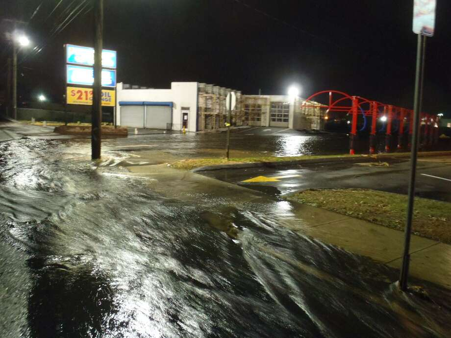 This photo, courtesy of Save the Sound, shows what the neighborhood around Star Tire & Wheels and the West River tide gates looked like as Hurricane Sandy approached near high tide, around 11:15 p.m. on Oct. 29, 2012