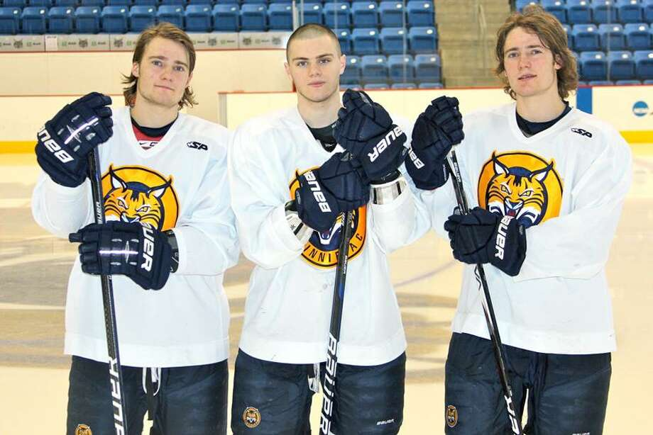 Photo by Ken Sweeten/Quinnipiac Athletics From left, Connor Jones, Matthew Peca and Kellen Jones