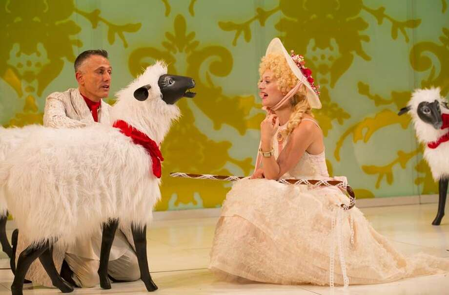 """T. Charles Erickson photo: Marin Ireland (Marie Antoinette) has an encounter with David Greenspan as the duplicitous Sheep in Yale Rep's """"Marie Antoinette."""" / T Charles Erickson"""