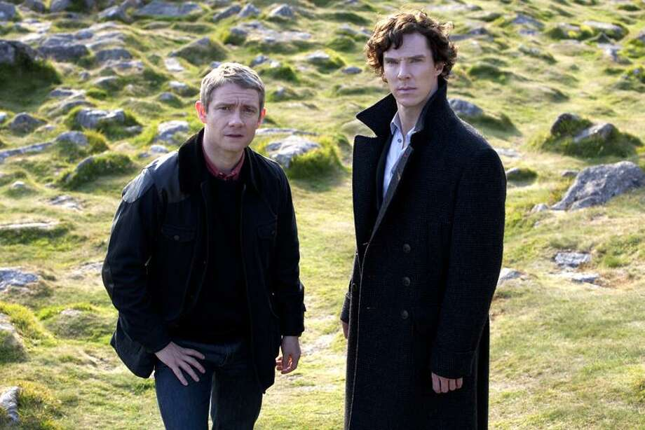 """Courtesy of &Copy; BBC/Hartswood Films for """"Masterpiece"""" photo: Benedict Cumberbatch is Sherlock Holmes, right, and Martin Freeman is Dr. Watson in this """"Masterpiece"""" version of """"Sherlock Holmes,"""" at 9 p.m. Sunday on PBS. / © Hartwood Films 2012"""