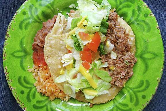 Beef puffy taco from Los Ajos Mexican Grill.