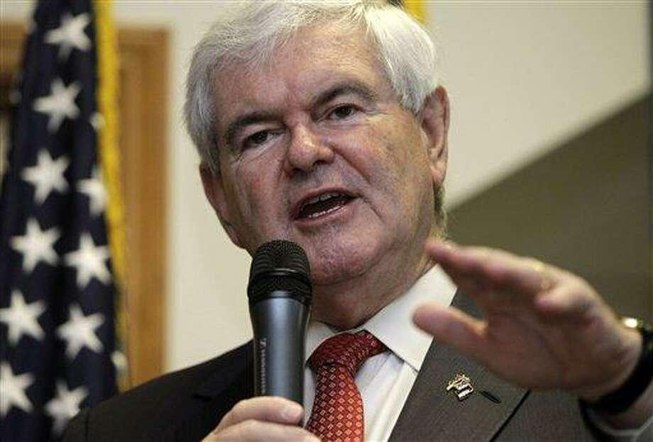 Republican presidential candidate, former House Speaker Newt Gingrich speaks April 25 in Cramerton, N.C. Associated Press Photo: AP / AP