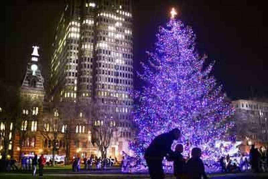 New Haven---Visitors enjoy the spectacular new blue and purple lights on the tree moments after it was lit at the 2008 annual New Haven Tree Lighting Ceremony.  Photo-Peter Casolino *