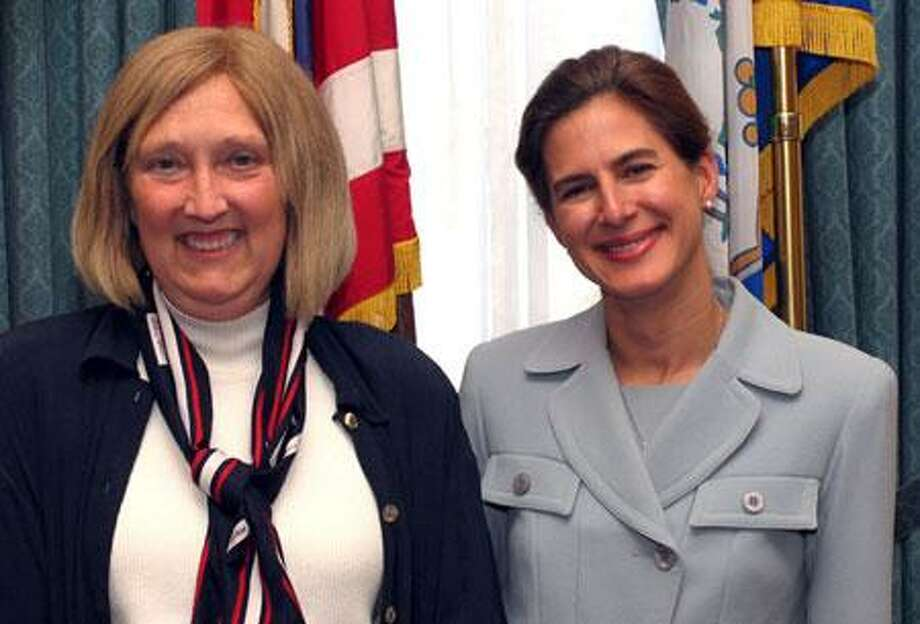 Rep. Hamm pauses for a photo with Connecticut Secretary of the State Susan Bysiewicz while discussing improvements to voting machine technology (Photo courtesy House Dems)