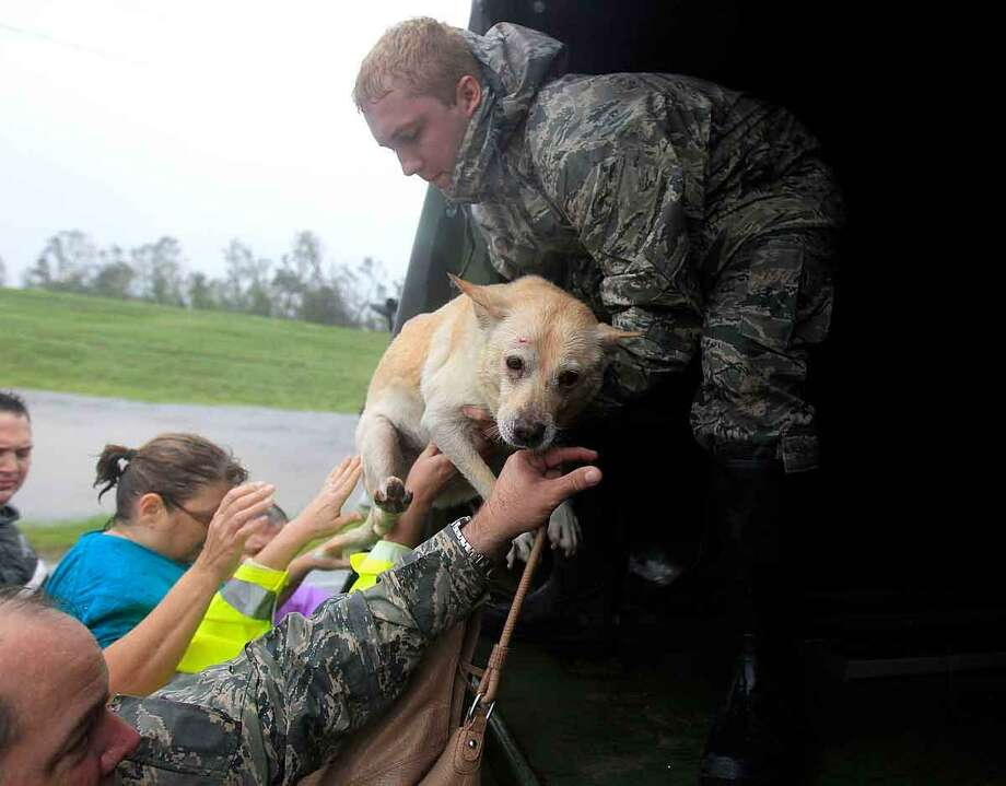 People and a dog who were rescued from their flooded homes are loaded into a Louisiana National Guard truck, after Hurricane Isaac made landfall and flooded homes with 10 feet of water in Braithwaite, La., in Plaquemines Parish Wednesday, Aug. 29, 2012. (AP Photo/Gerald Herbert) Photo: ASSOCIATED PRESS / AP2012
