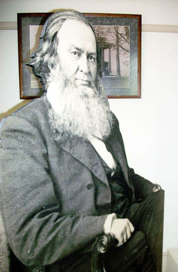 Photo Courtesy Gerrit Smith Estate A life-sized image of abolitionist and philanthropist Gerrit Smith greets visitors to Smith's Land Office on the Gerrit Smith Estate National Historic Landmark in Peterboro. Stewards for Smith's estate are planning his annual birthday party for today at 1:30 p.m.