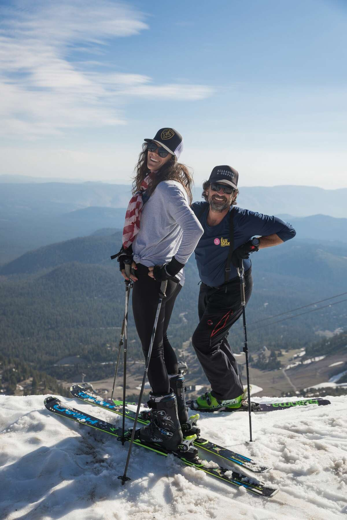 Skiers and snowboarders enjoy summer skiing at Mammoth Mountain on July 24, 2017.