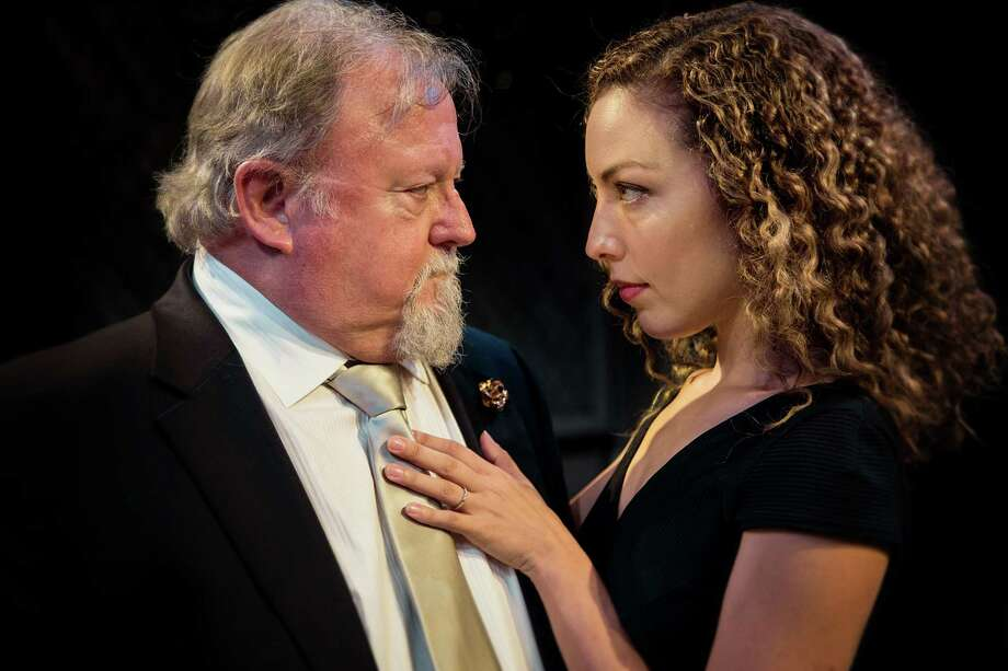 """Henry VIII (Rutherford Cravens, background) and Kate Parr (Lisa Villegas) in Main Street Theater's """"The Last Wife"""" on stage through Aug. 13."""