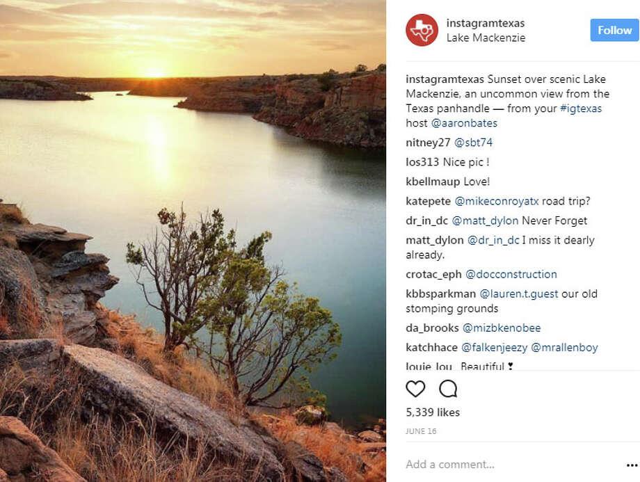 "Lake Mackenzieinstagramtexas: ""Sunset over scenic Lake Mackenzie, an uncommon view from the Texas panhandle — from your #igtexas host @aaronbates"" Photo: Instagram.com/instagramtexas"