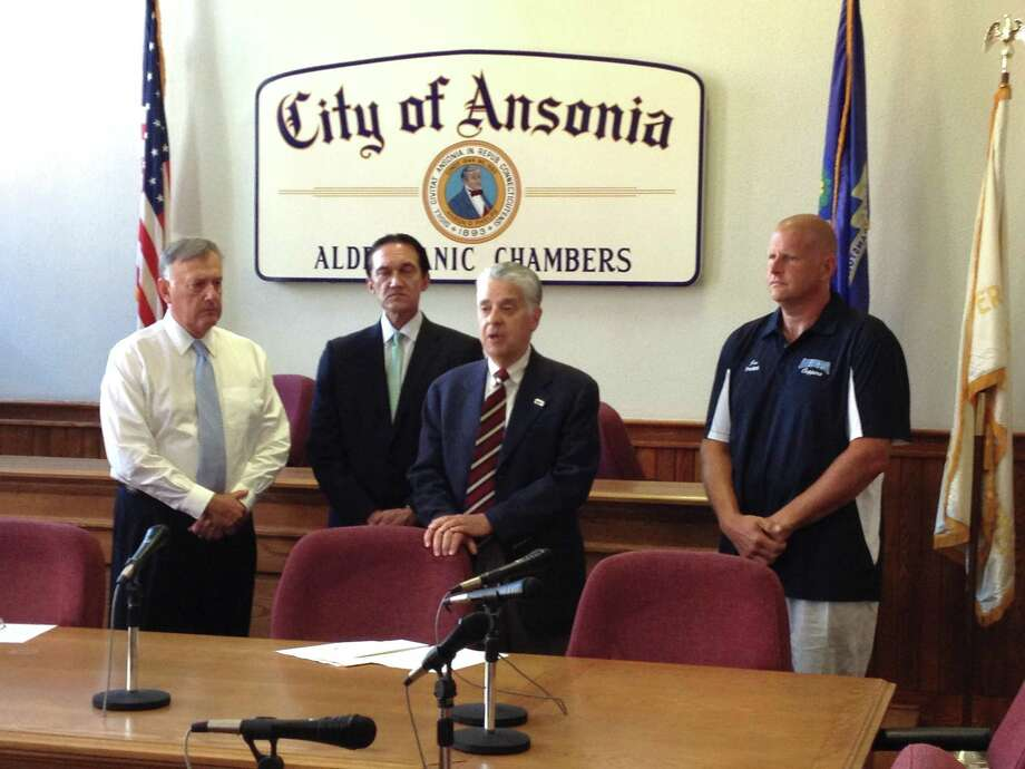 From the left: Ansonia Mayor James Della Volpe; Greg Stamos, VCF Chairman; James Cohen, VCF President; and Jon Chrzanowski, President Ansonia Youth Football and Cheer.