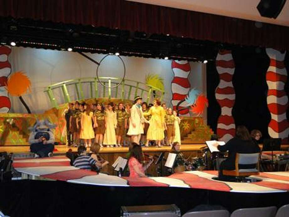"""Photo Special to the Dispatch by RACHEL MURPHY Camden students rehearse for """"Seussical the Musical."""" Performances will be Friday at 7 p.m. and Saturday at 2 and 7:30 p.m. at Camden High School."""