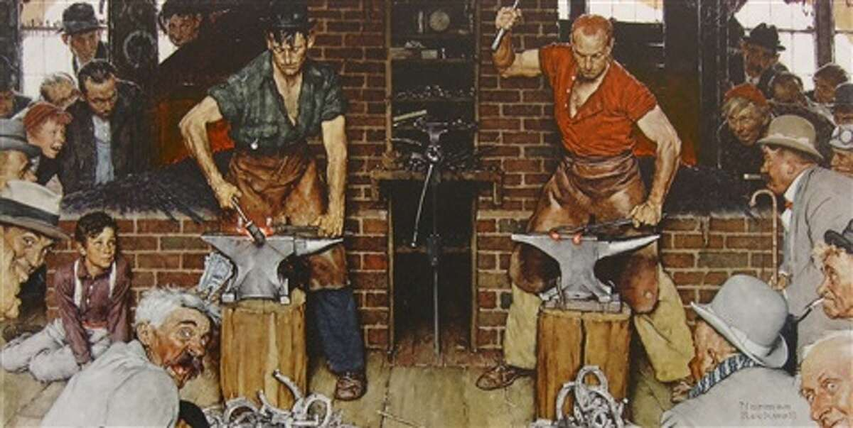 """""""Blacksmith's Boy - Heel and Toe (Shaftsbury Blacksmith Shop),"""" by Norman Rockwell, is among the works listed to be auctioned to raise money for The Berkshire Museum. It originally was a cover illustration for Vermont Life magazine in 1947."""