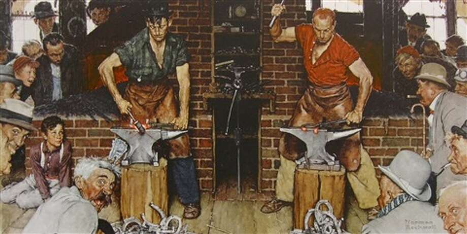 """""""Blacksmith's Boy — Heel and Toe (Shaftsbury Blacksmith Shop),"""" by Norman Rockwell, is among the works listed to be auctioned to raise money for The Berkshire Museum. It  originally was a cover illustration for Vermont Life magazine in 1947."""