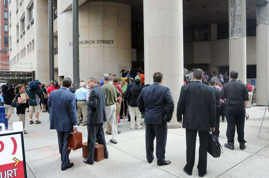 New Haven-- Superior Court was evacuated late Thursday morning during the Joshua Komisarjevsky trial. Peter Casolino/New Haven Register9/22/11