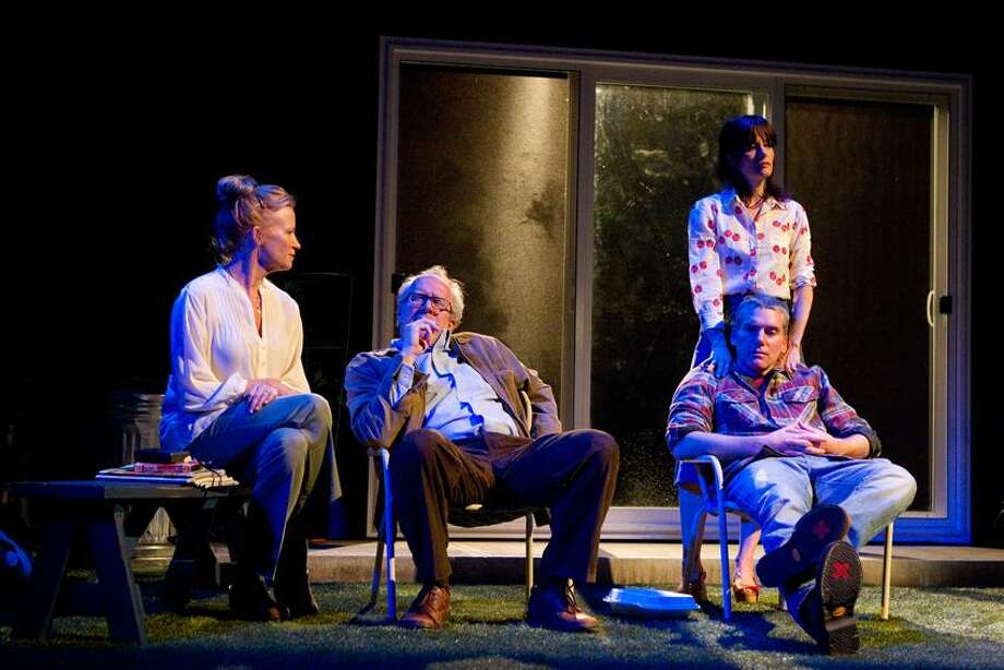 """&Copy; Joan Marcus photo: """"The Realistic Joneses"""" are two couples with communication problems in the world premiere play starring Johanna Day, left, Tracy Letts, Parker Posey and Glenn Fitzgerald through May 12 at Yale Rep."""