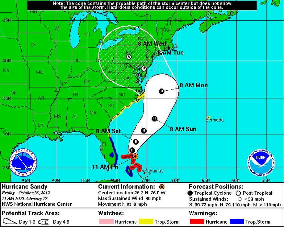 Sandy's forecast track as of 11 a.m. Friday, courtesy of the National Hurricane Center.