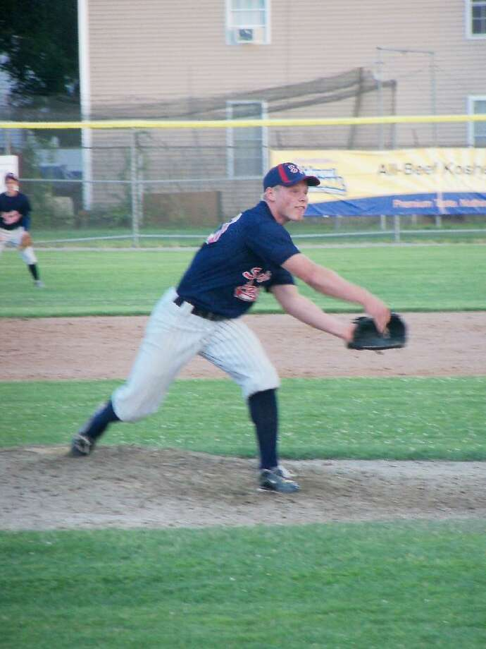 PETER WALLACE/Register Citizen Torrington Sports Palace pitcher Corey LaFrance, making his first start of the summer, held a good Pomperaug team to four hits and no runs in his five innings on the mound Tuesday at Fuessenich Park. Sports Palace won 5-4.