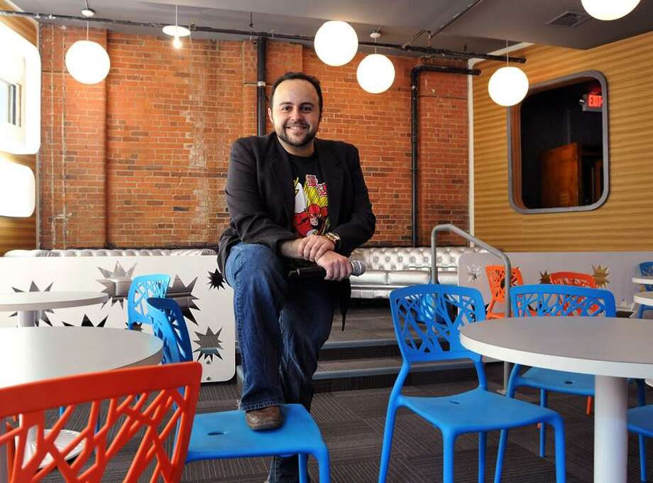 """New Haven-- Andrew Lebwohl is opening """"Karaoke Heroes"""" a new bar at 212 Crown Street. Peter Casolino/New Haven Register 8/21/12"""