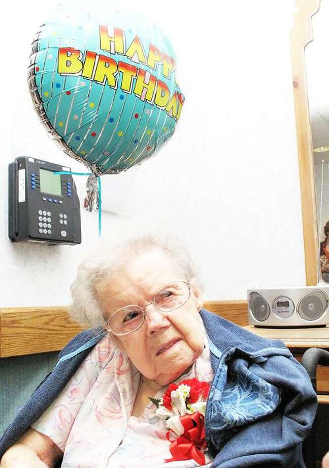 Photo by JOHN HAEGER (Twitter.com/OneidaPhoto) 103-year-old Harriet Snyder talks about her life during an interview on her birthday Wednesday, June 27, 2012 at the ECF in Oneida.