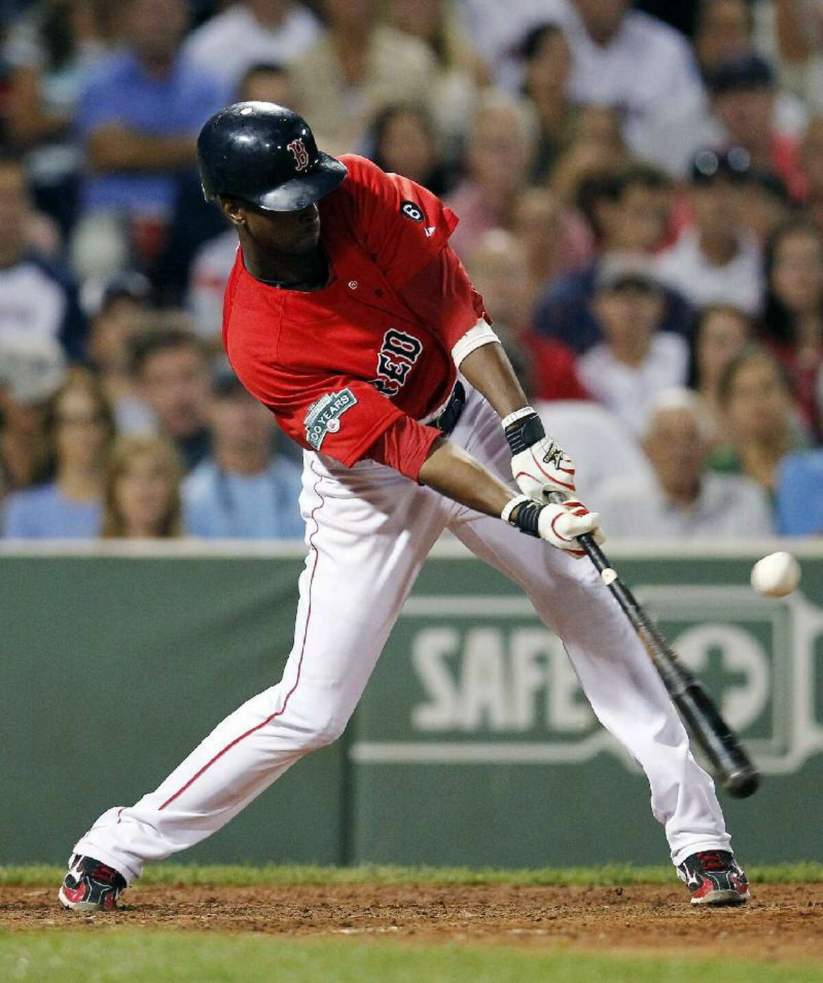 ASSOCIATED PRESS Boston Red Sox's Pedro Ciriaco hits a two-run double in the seventh inning of Friday night's game against the Kansas City Royals in Boston. The Red Sox won 4-3.