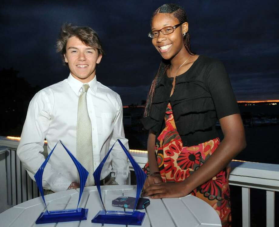 Jake Scinto of Cheshire and Bria Holmes of Hillhouse were named Athletes of the Year at the Register's  annual MVP Banquet at Amarante's in New Haven. Mara Lavitt/Register