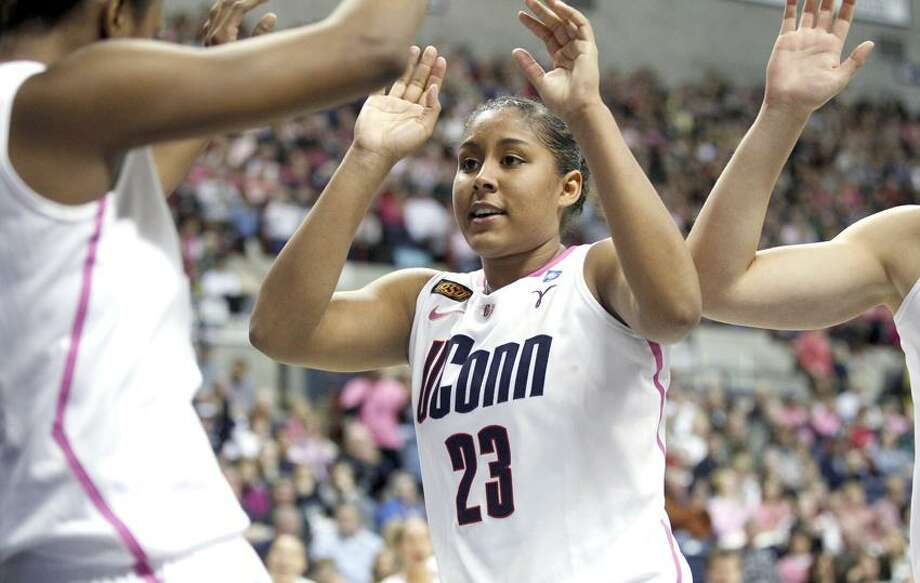 Feb 11, 2012; Storrs, CT, USA; Connecticut Huskies forward Kaleena Mosqueda-Lewis (23) celebrates with guard Tiffany Hayes (3) after a play in the second half against the Georgetown Hoyas at Gampel Pavilion. UConn defeated the Georgetown Hoyas 80-38. Mandatory Credit: David Butler II-US PRESSWIRE Photo: US PRESSWIRE / David Butler II