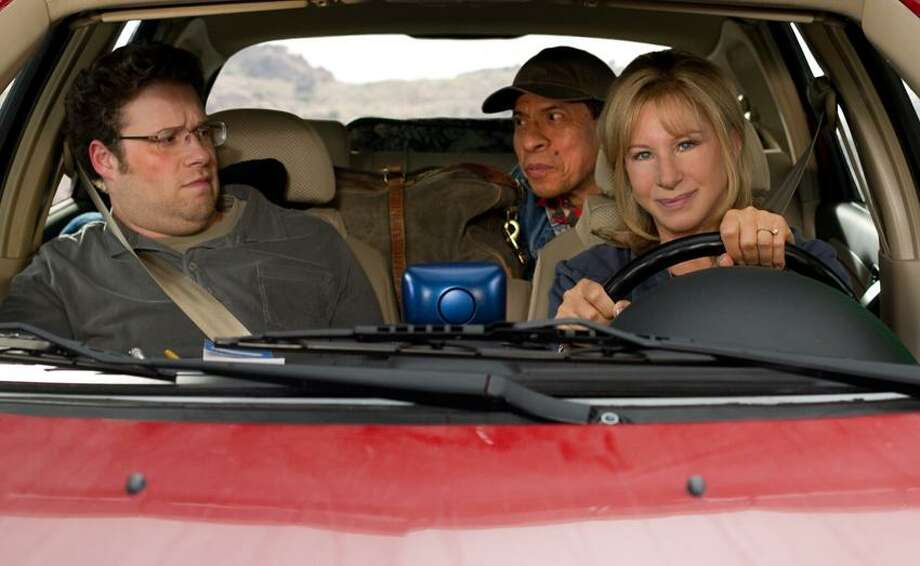 "Sam Emerson/Paramount Pictures photo: Cruising with Seth Rogen, left, Pedro Lopez and Barbra Streisand in ""The Guilt Trip."" Photo: AP / MMXII Paramount Pictures Corporation. All Rights Reserved.2011"