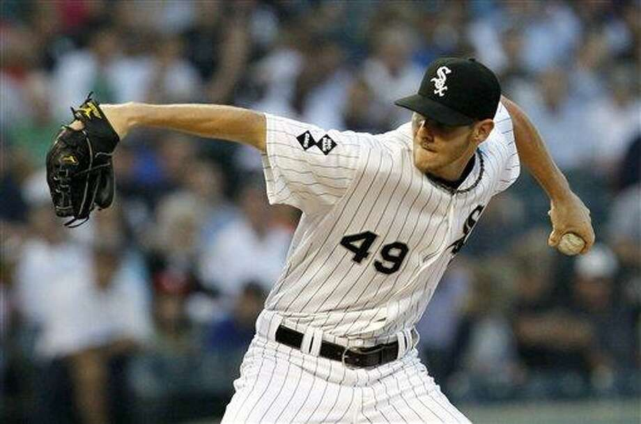 Chicago White Sox pitcher Chris Sale delivers during the first inning of a baseball game against the New York Yankees,  Wednesday, Aug. 22, 2012, in Chicago. (AP Photo/Charles Rex Arbogast) Photo: AP / AP