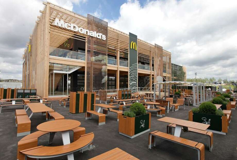 A view of the newly constructed McDonald's restaurant at the Olympic Park in east London, Monday, June 25, 2012. The restaurant is designed to be reusable and recyclable after the London 2012 Olympic and Paralympic Games. (AP Photo/Lefteris Pitarakis) Photo: AP / AP2012