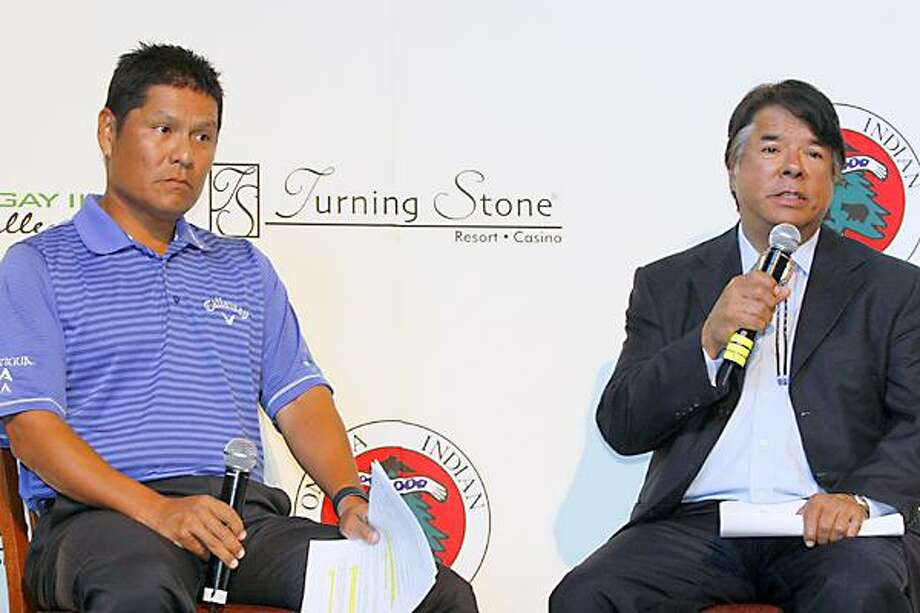 Dispatch Staff Photo by JOHN HAEGER Notah Begay III, left, and Oneida Indian Nation CEO Ray Halbritter announce the field for the fifth annual Notah Begay III Challenge to be held at Turning Stone's Atunyote Golf Course to be held August 29.