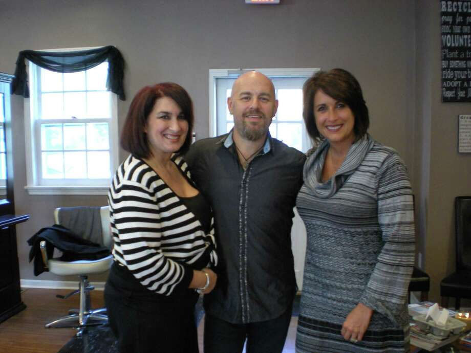 Daniela Forte/Litchfield County Times From left, DPZ co-owner Debbie Barrigas, stylist Gerard Kierans, and co-owner Dawn Blom at the Litchfield salon, where Kierans spent the day providing education to the staff.