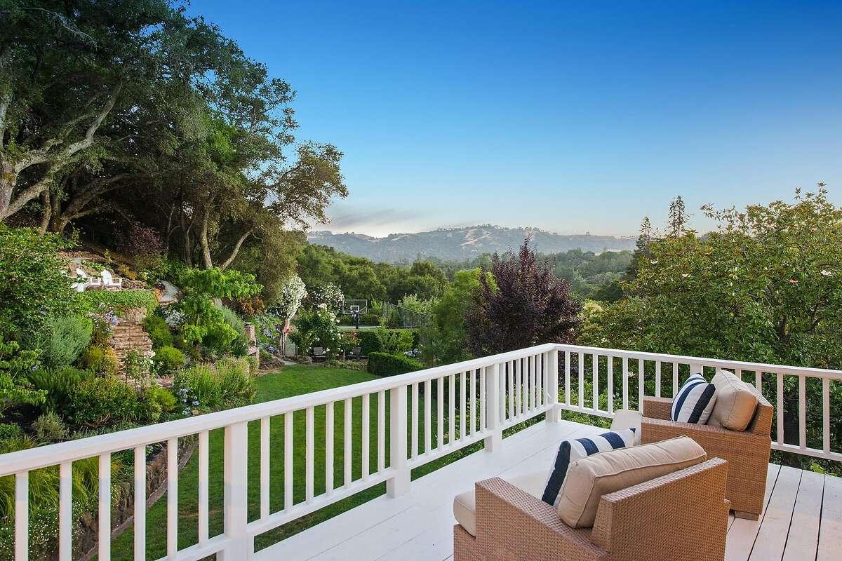 This rear deck overlooks the verdant Orinda landscape.