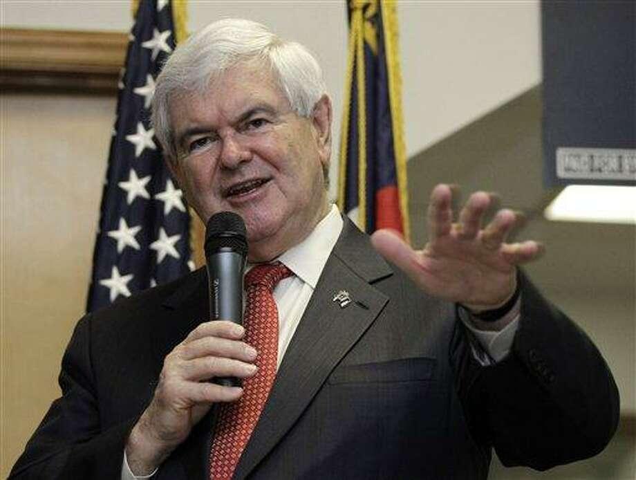 Republican presidential candidate, former House Speaker Newt Gingrich speaks in Cramerton, N.C., Wednesday, April 25, 2012. (AP Photo/Chuck Burton) Photo: AP / AP