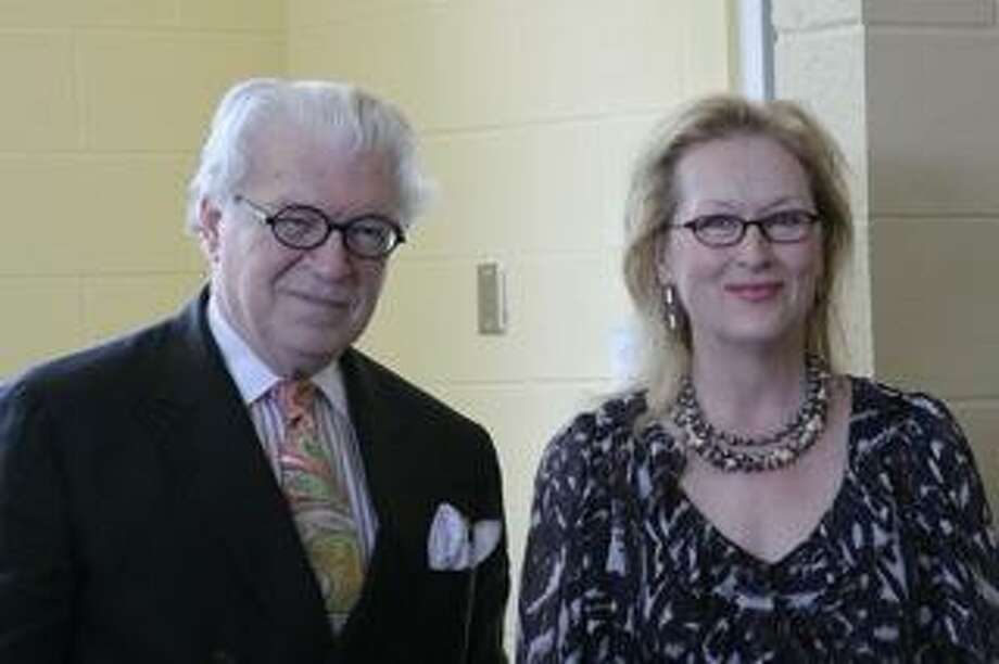 Meryl Streep with Irish author and her interviewer Sunday afternoon, Frank Delaney of Kent.