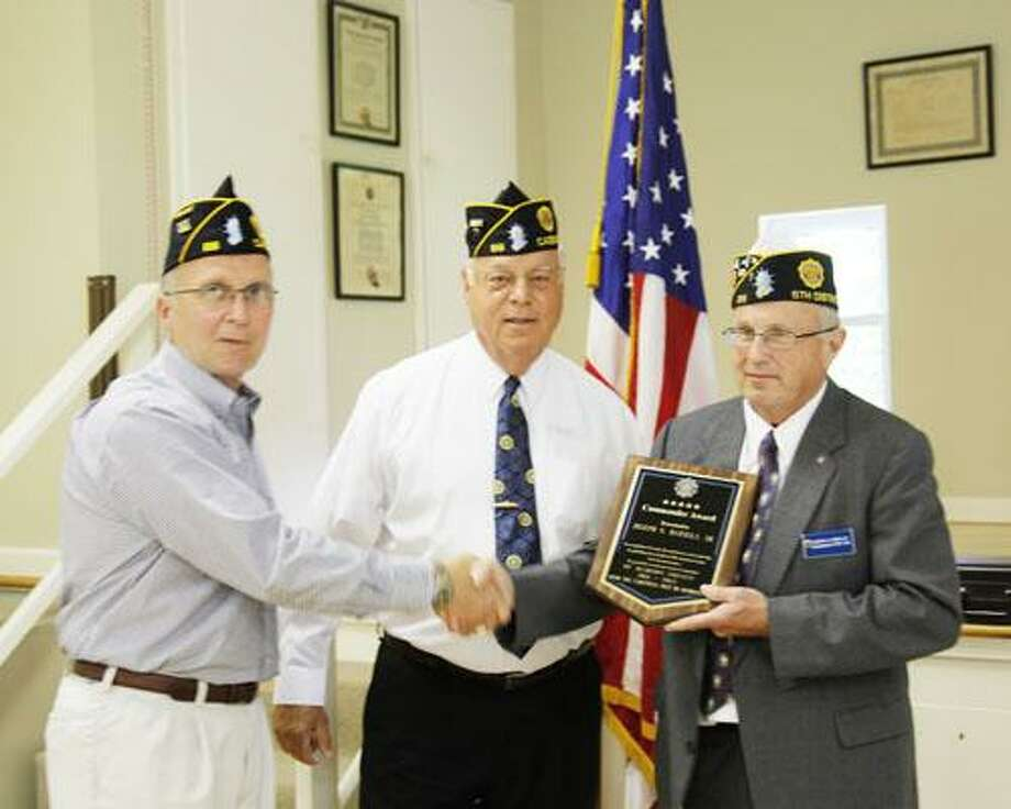 Photo Courtesy CAZENOVIA AMERICAN LEGION From left, Past Adjutant Post No. 88, Scott Machose, Commander Post No. 88 John Mott, and County Commander Joseph G. Barilla Sr.