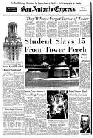 Front page coverage of UT sniper, Charles Whitman.Aside from standard A1 features like the brief weather forecast and a daily humor feature, the front page of the next day's San Antonio San Antonio Express was wholly dominated by shooting coverage. The