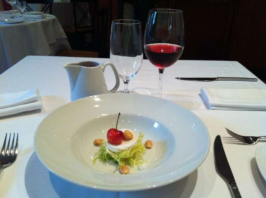 Stephen Fries photo: Rainier Cherry Gazpacho With Frisee, Goat Cheese and Marcona Almonds