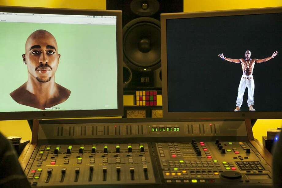 In this photo taken Tuesday, June 12, 2012, video images of the Tupac Shakur hologram are displayed on a computer monitor at the Subtractive Studio in Santa Monica, Calif. When Tupac Shakur rose from the stage in the California desert earlier this year, it was not only a jaw-dropping resurrection, but also the beginning of a new form of live entertainment. Stars wield extensive control over how their names, voices and images are used after they die through likeness, trademark and copyright protections, and now holograms offer them yet another consideration. Associated Press Photo: AP / AP2012