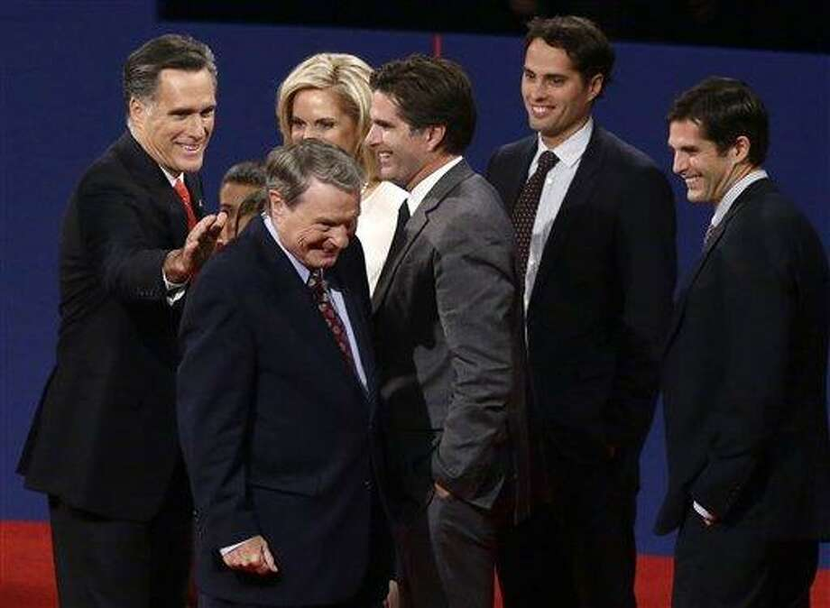 Republican presidential candidate, former Massachusetts Gov. Mitt Romney pats moderator Jim Lehrer on the back at the end of the first presidential debate with President Barack Obama in Denver. When it comes to debates, Mitt Romney loves the rules. AP Photo/Charles Dharapak Photo: AP / AP
