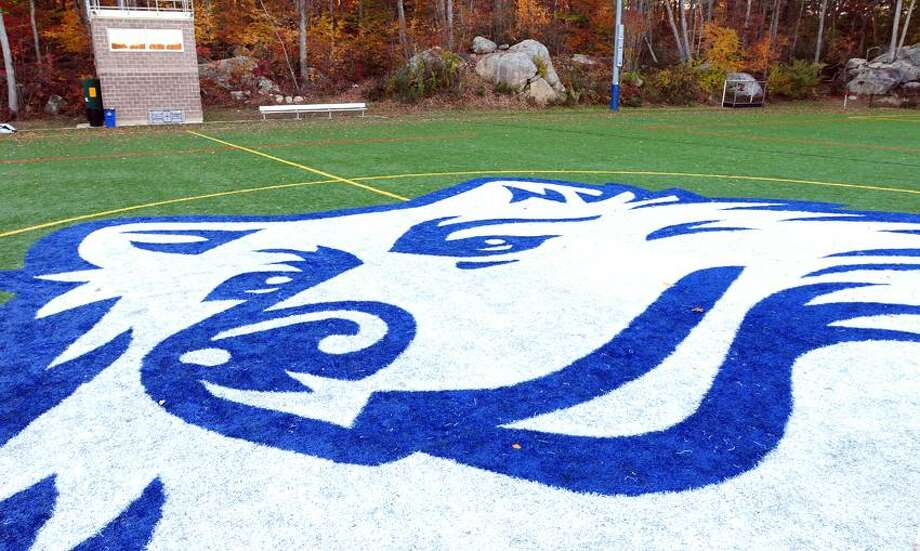 The Morgan High School mascot on their home field at the Indian River Recreation Complex in Clinton photographed on 10/22/2012.Photo by Arnold Gold/New Haven Register   AG0468A
