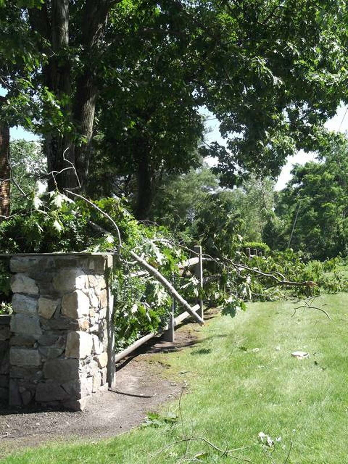 RICKY CAMPBELL/ Register Citizen Tree branches snapped off and fell along the wall of the St. Francis Cemetery on Torrington's South Main Street during the Friday evening storm. On Saturday, crews from tree services, the City of Torrington and Connecticut Light & Power handled their respective jobs.