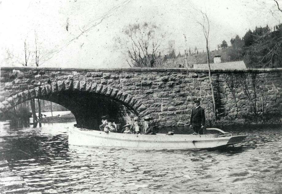 The 1876 stone arch bridge over the Farm River, as seen in this photo from 1905. Courtesy East Haven Historical Society