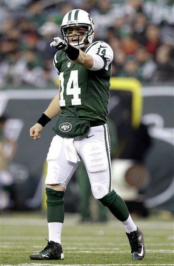 New York Jets quarterback Greg McElroy gestures during the second half of an NFL football game against the Arizona Cardinals, Sunday, Dec. 2, 2012, in East Rutherford, N.J. The Jets won 7-6. (AP Photo/Kathy Willens) Photo: ASSOCIATED PRESS / AP2012