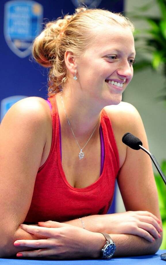 Petra Kvitova is interviewed at the Connecticut Tennis Center on 8/20/2012.Photo by Arnold Gold/New Haven Register    AG0459D