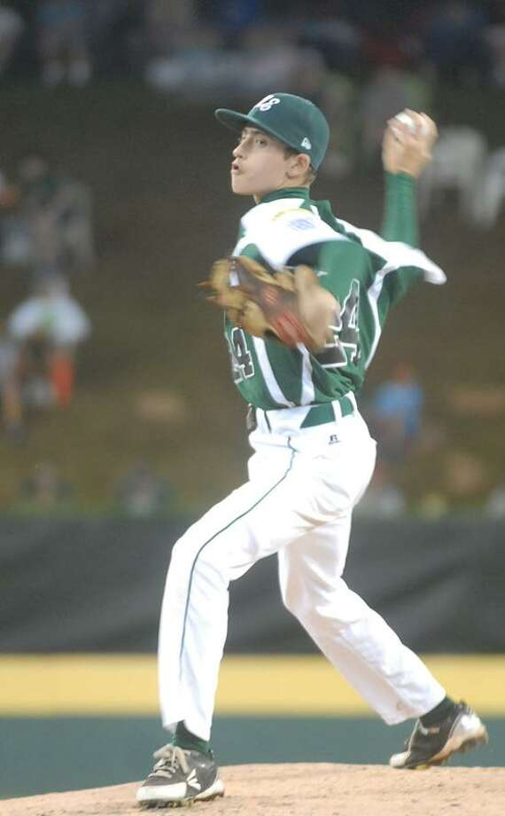 Fairfield American pitcher Will Lucas struck out 13 in a no-hitter against Indiana at the Little League World Series Monday night in South Williamsport, Pa. (Mary Albl/Register)