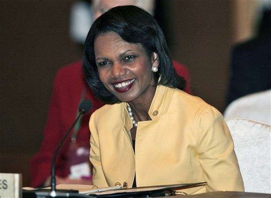 For the first time in its 80-year history, Augusta National Golf Club has female members. The home of the Masters, under increasing criticism the last decade because of its all-male membership, invited former Secretary of State Condoleezza Rice, pictured above, and South Carolina financier Darla Moore to become the first women in green jackets when the club opens for a new season in October. Associated Press file photo Photo: AP / Pool AP