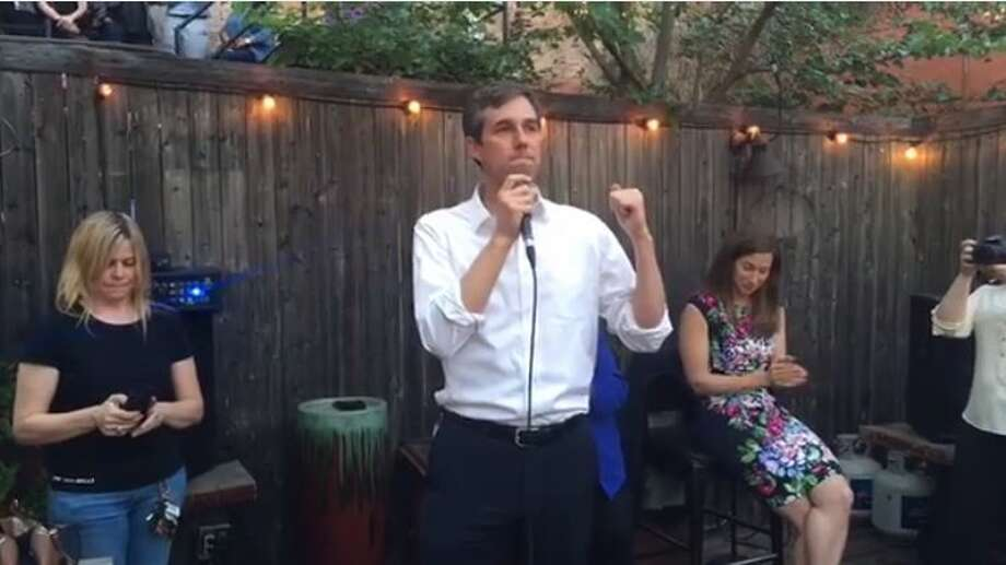 Democrat Beto O'Rourke, the El Paso U.S. House member seeking to represent Texas in the U.S. Senate, made a claim about not taking corporate or PAC contributions at a campaign event in Dallas March 31, 2017 (Screenshot of O'Rourke campaign video). Photo: Selby, Gardner (CMG-Austin)