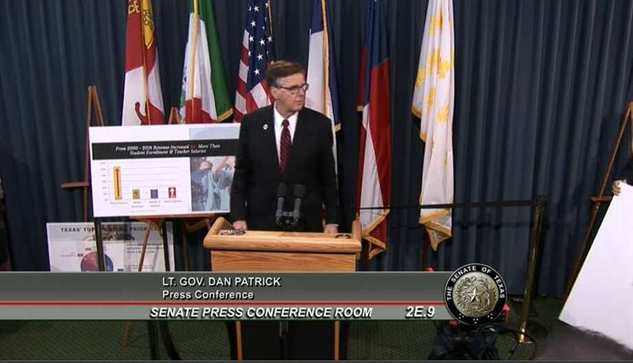 Lt. Gov. Dan Patrick told reporters on July 13, 2017, that his fellow Republican, House Speaker Joe Straus, had repeatedly refused to meet one on one in 2017 (screenshot of Patrick's press conference). Photo: Selby, Gardner (CMG-Austin)