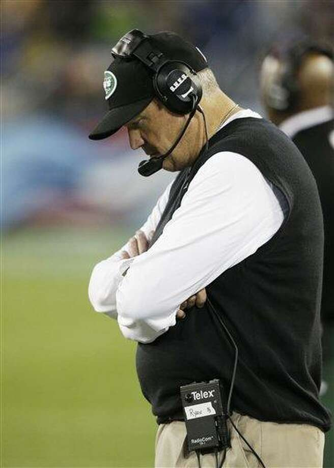 New York Jets head coach Rex Ryan walks the sideline in the second quarter of an NFL football game against the Tennessee Titans on Monday, Dec. 17, 2012, in Nashville, Tenn. (AP Photo/Wade Payne) Photo: AP / FR23601 AP